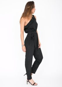 One Shoulder Ruffle Jumpsuit Black