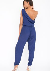 One Shoulder Ruffle Jumpsuit Blue