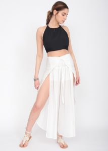 Open Wrap Trousers White