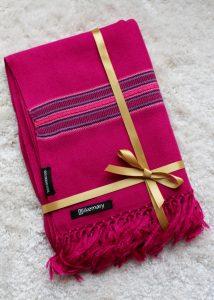 Oversize Blanket Scarf in Merino Wool Mansi Fuchsia Pink 75 X 200cm