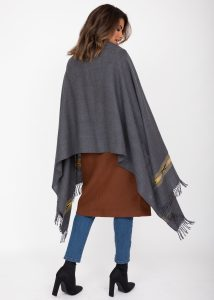 Oversize Blanket Scarf in Merino Wool Takhi Charcoal Grey 75 X 200cm