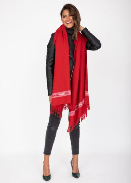 Oversize Blanket Scarf in Merino Wool Takhi Red 75 X 200cm
