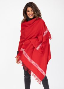 Oversize Blanket Scarf in Merino Wool Takhi Red 75 X 200cm