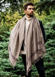 Oversize Men's Blanket Scarf Merino Wool Takhi Mocha Brown 100 X 200cm