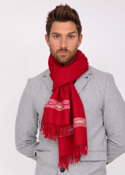 Oversize Men's Blanket Scarf Merino Wool Takhi Red 75 X 200cm