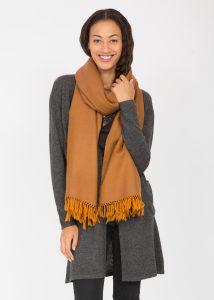 Oversize Pashmina Scarf Heritage Herringbone Merino Wool in Ochre 200 X 75cm