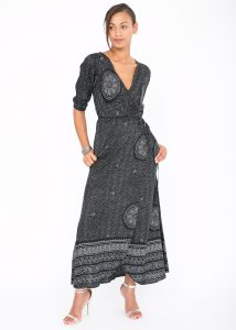 Polka Mandala Print Maxi Wrap Dress
