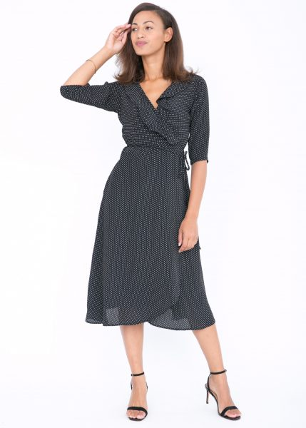 Polka Midi Ruffles Wrap Dress