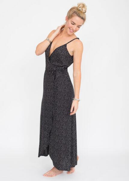 Polka Open Back Maxi Wrap Dress