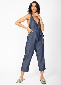 Racer Back Cropped Jumpsuit in Denim Blue