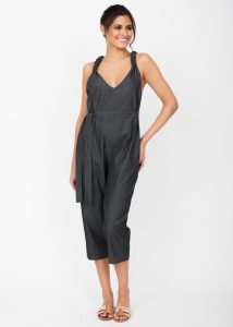 Racer Back Cropped Jumpsuit Summer Denim Grey