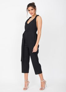 Racer Back Cropped Summer Jumpsuit Cotton Black