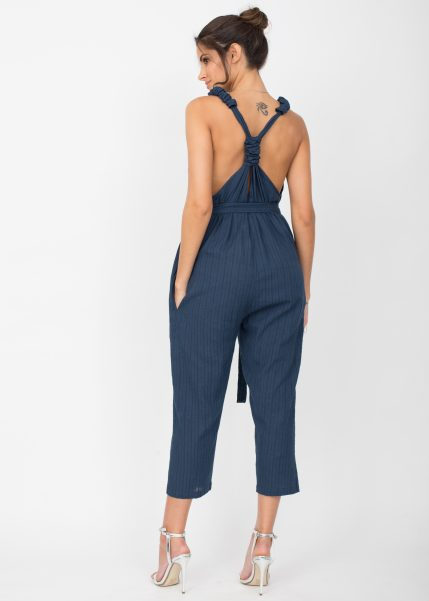 Racer Back Cropped Summer Jumpsuit Cotton Blue
