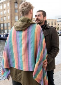 Rainbow Handwoven Merino Tassel Scarf Mens