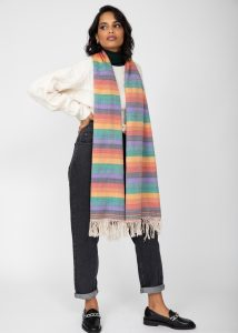 Rainbow Handwoven Merino Tassel Scarf