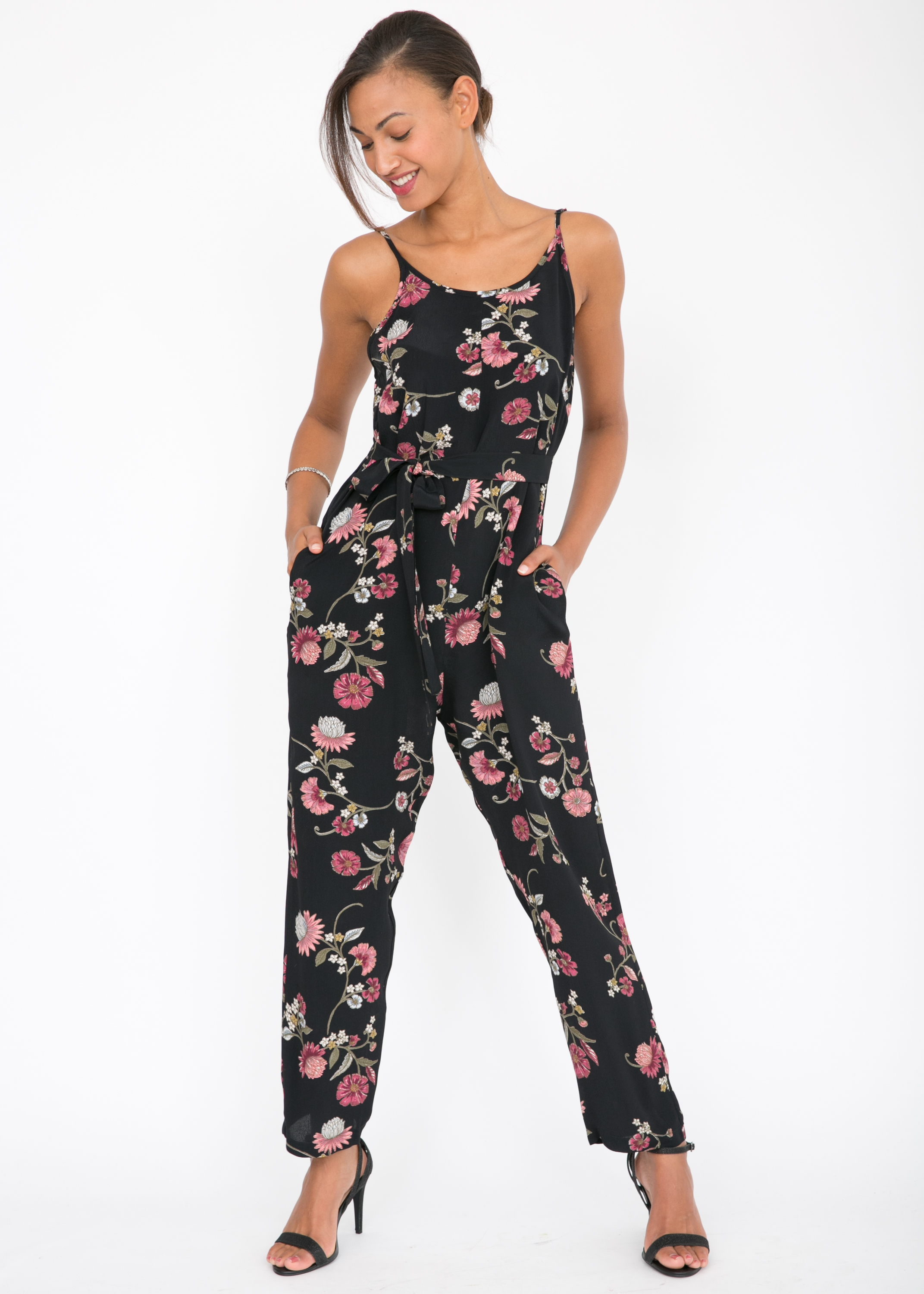 38fe1cae17b3 Relaxed Strappy Romper Floral Print Jumpsuit – likemary