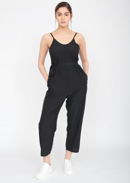 Relaxed Strappy Romper Jumpsuit Black