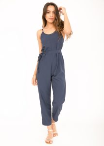 Relaxed Strappy Romper Jumpsuit Blue