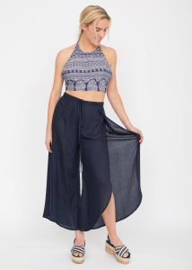 Relaxed Wrap Side Spilt Trousers Navy Blue