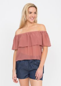 Rose Ruffle Bandeau Top