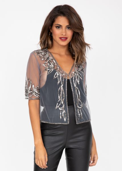 Sequin And Bead Embellished Bolero In Silver