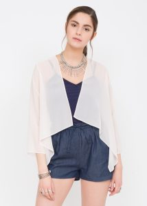 Sheer Chiffon Shrug Bolero Blush Pink