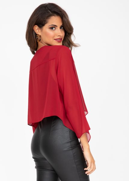 Sheer Chiffon Shrug Bolero Cherry Wine Red