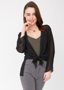 Sheer Georgette Coverup Cardigan Black
