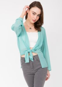 Sheer Georgette Coverup Cardigan Mint