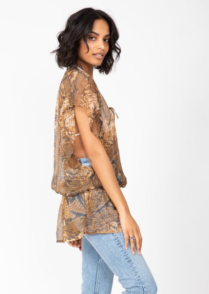 Sheer Ibiza Kaftan Top in Snake Print with Sequins