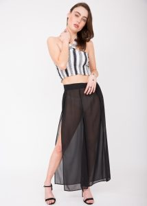 Sheer Side Split Festival Trouser Black