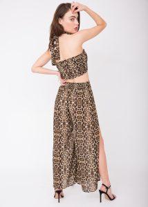 Sheer Side Split Festival Trouser Leopard Print