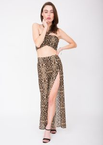 Sheer Side Split Festival Trouser Leopard Print