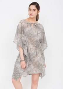 Sheer V Neck Kaftan in Snake Print
