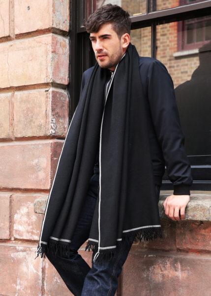 Shoreditch Mens Merino Wool Oversize Scarf Black 100 X 200cm