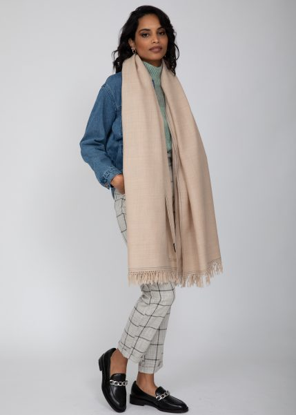Shoreditch Merino Handwoven Pashmina and Blanket Scarf Fawn Beige