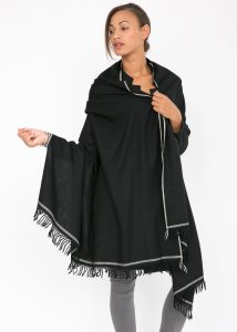 Shoreditch Merino Wool Shawl & Oversize Scarf Black 200 X 100cm