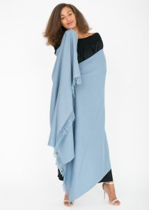 Shoreditch Merino Wool Shawl & Oversize Scarf Sky Blue 100 x 200cm