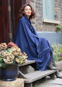 Shoreditch Merino Wool Shawl & Oversize Scarf Atlantic Blue 100 x 200cm