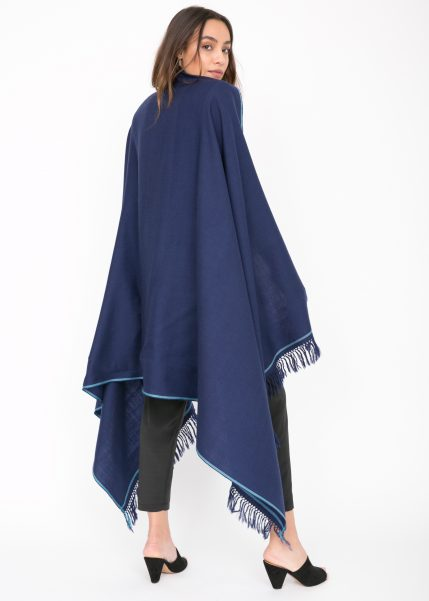 Shoreditch Merino Wool Shawl & Oversize Scarf Atlantic Blue 100 x 200cm