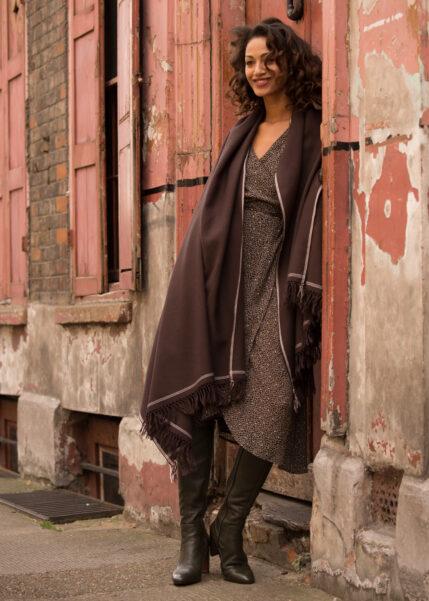 Shoreditch Merino Wool Shawl & Oversize Scarf Chocolate 100 x 200cm
