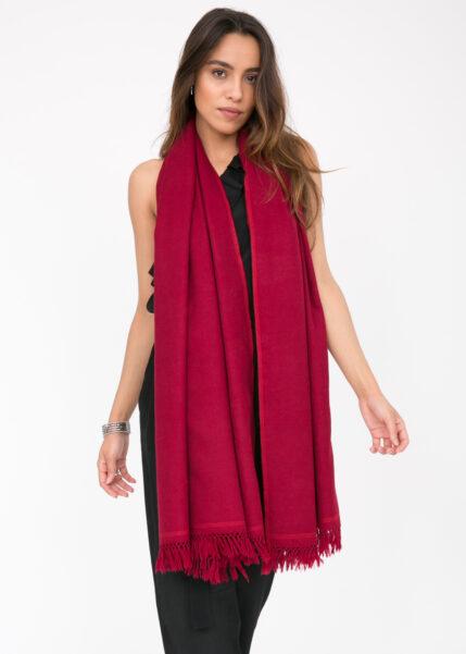 Shoreditch Merino Wool Shawl & Oversize Scarf Red 100 x 200cm
