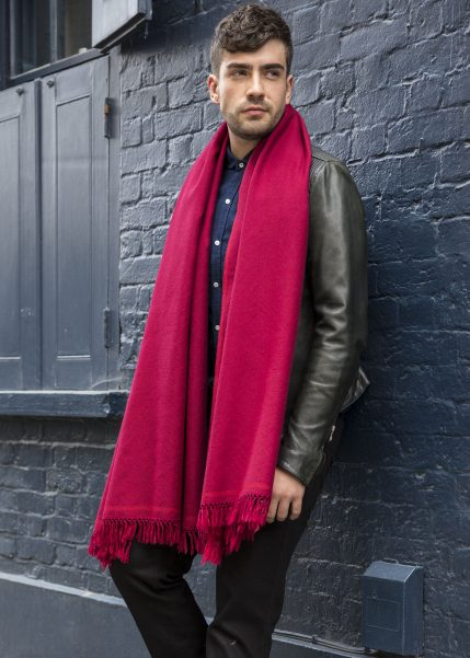 Shoreditch Merino Wool Shawl & Oversize Scarf Red 100 x 200cm