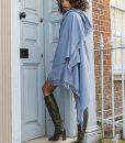 Shoreditch Merino Wool Shawl & Oversize Scarf Sky Blue 100 x 200cm