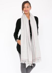 Shoreditch Merino Wool Shawl & Oversize Scarf Stone Grey 100 x 200cm