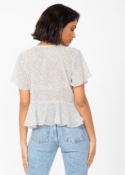 Short Butterfly Sleeve Floaty Top In White Polka Dot