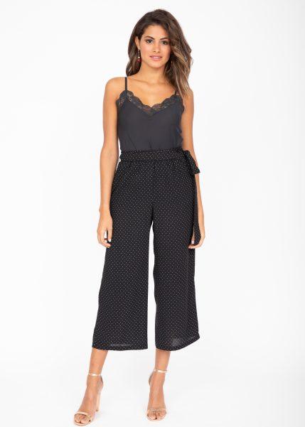 Wide Leg Culottes in Black Polka Dots Print