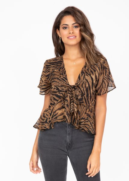 Short Butterfly Sleeve Top in Tiger Stripes