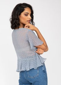 Short Butterfly Sleeve Top In Calm Grey Dots