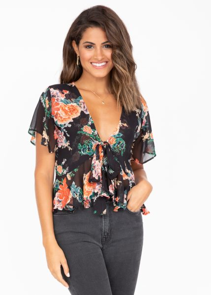 Short Butterfly Sleeve Top in Floral Print